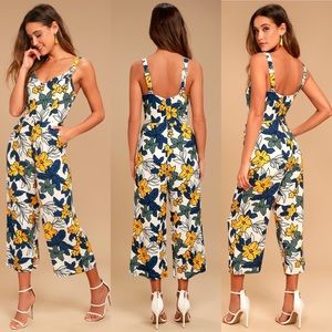 JOA Ivory Floral Print Jumpsuit, Size S